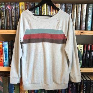 Tops - Gray / Blue / Red / Brown Stripe Sweatshirt Large